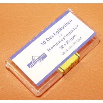 10x Deckglas, Deckgläschen f. Haemacytometer geeicht unbenutzt (Hämacytometer)