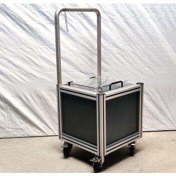 gebrauchter Rollwagen für sicheren, innerbetrieblichen Chemikalientransport