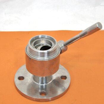 gebrauchter Edelstahl Kugelhahn DN50  Flansch 165 mm Milchrohrgewinde DN65