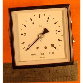 "Rohrfeder-Manometer HAENNI 0-10 bar Überdruck; DIN Kl.1.6; 1/4"""