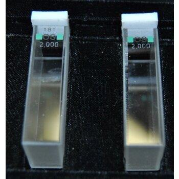 2x gebrauchte Glasküvette 20 mm Hellma 100-OS mit Deckel